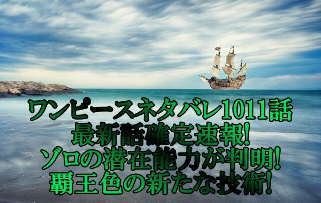 ワンピースネタバレ1011話最新話確定速報!ゾロの潜在能力が判明!覇王色の新たな技術!